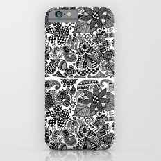 Black and white abstract floral pattern iPhone 6s Slim Case