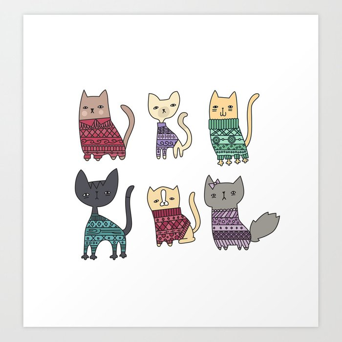 sweater cats Art Print