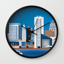 Baltimore, Maryland - Skyline Illustration by Loose Petals Wall Clock
