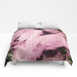 Red Violet on green hues Comforters