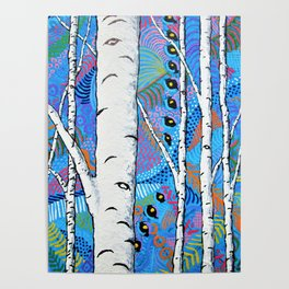 Sunset Sherbert Birch Forest by Mike Kraus - aspen trees forest woods nature surreal trippy colors Poster