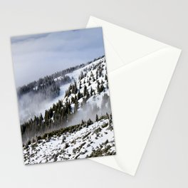 Pine Forest On The Side Of The Snow Covered Mountain Stationery Cards