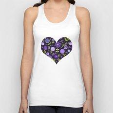 Retro purple flowers  Unisex Tank Top