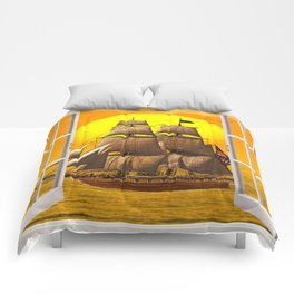 American Frigate Sailing Against a Sunset Comforters