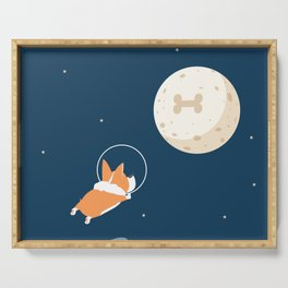Fly to the moon _ navy blue version Serving Tray