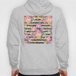 Elegant spring flowers and stripes design Hoody