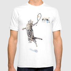 Cat Playing Tennis White Mens Fitted Tee SMALL