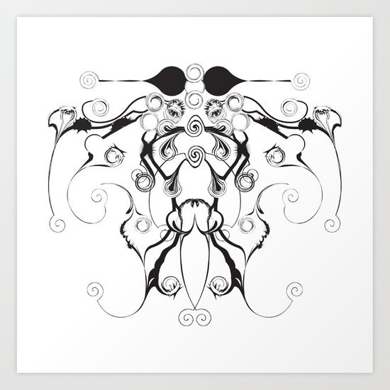 Moth Swirls And Twirls Art Print