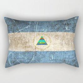 Vintage Aged and Scratched Nicaraguan Flag Rectangular Pillow