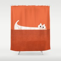 rothko Shower Curtains featuring Mark's Superpower: cat Superstretch by Picomodi