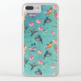 Vintage Watercolor hummingbirds and fuchsia flowers Clear iPhone Case