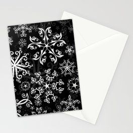 Symbols in Snowflakes on Black Stationery Cards