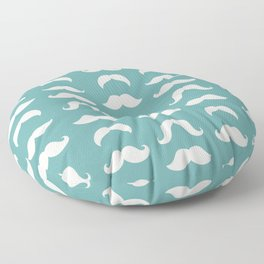 Hipster Moustache Pattern - Teal Blue Floor Pillow