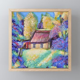 Lodge in the forest Framed Mini Art Print