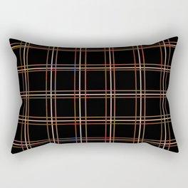 ARREST multi colour lines plaid pattern on black Rectangular Pillow