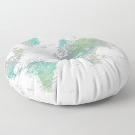 Watercolor world map in muted green and brown Floor Pillow