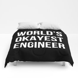 World's Okayest Engineer (Black) Comforters