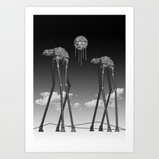 Dali's Mechanical Elephants - Black Sky Art Print