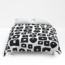 Geometrical hand painted black white squares circles Comforters