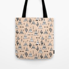 Teepee tent indian summer and cactus garden tribal illustration pattern Tote Bag