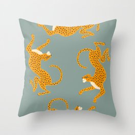 Leopard Race - blue Throw Pillow