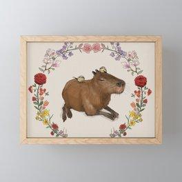 Capybara in Flower Wreath Framed Mini Art Print