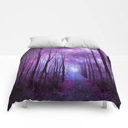 Fantasy Forest Path Purple Pink Comforters