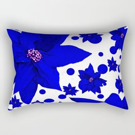 Poinsettia Blue Indigo Pattern Rectangular Pillow