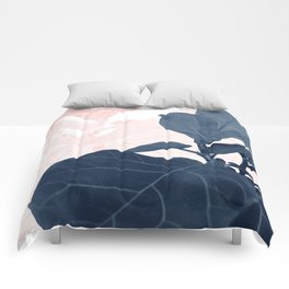 Blush Blue Fiddle Leaf Dream #1 #tropical #decor #art #society6 Comforters