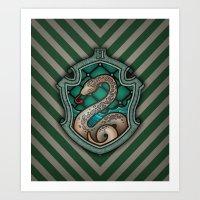Hogwarts House Crest - Slytherin Art Print
