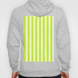 Narrow Vertical Stripes - White and Fluorescent Yellow Hoody