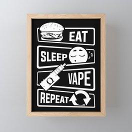 Eat Sleep Vape Repeat - Vaping E-Cigarette Vaper Framed Mini Art Print