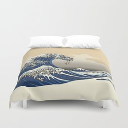 The Great Wave of Pugs Vanilla Sky Duvet Cover