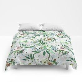 Elegant botanical blush pink pastel green watercolor floral Comforters