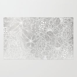 Modern white silver grey Christmas floral pattern illustration gradient ombre Rug