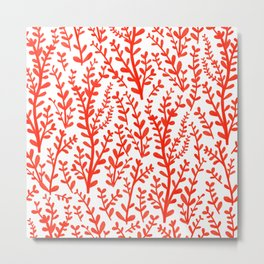 Red and White Floral Gouache Pattern Metal Print