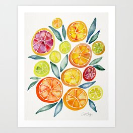 Sliced Citrus Watercolor Art Print