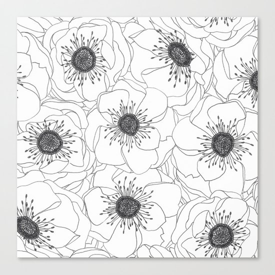 White Anemones Canvas Print