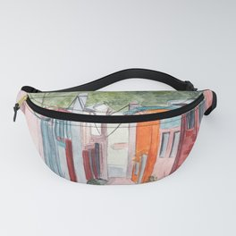 Korean Street Watercolor Illustration Fanny Pack