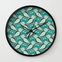 puffin Wall Clocks featuring puffin by blacksparrow