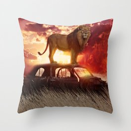 Red Lion Car by GEN Z Throw Pillow