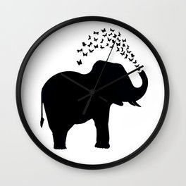 Elephant and butterfly spray Wall Clock