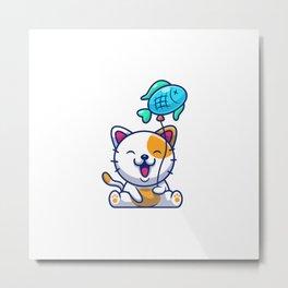 Cute Cat Holding Fish Balloon Metal Print