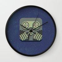 steam punk Wall Clocks featuring Steam Punk Mask by Nick Kumbari
