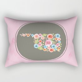 Oklahoma Watercolor Flowers on Pink and Gray Rectangular Pillow
