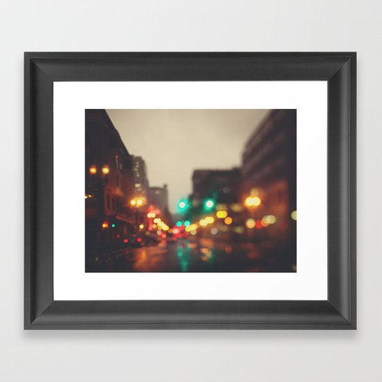 Portland In The Rain Framed Art Print