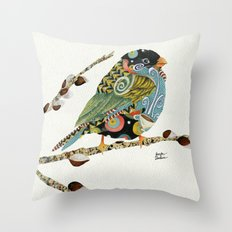 Cafe Swirly Bird 3 Throw Pillow