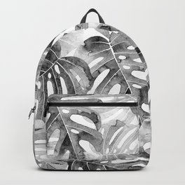 Black and white Monstera leaves Jungle leaves Palm leaves Tropical Backpack