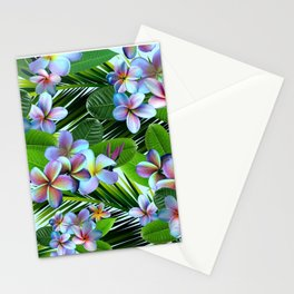 Rainbow Plumeria with Palm Fronds Stationery Cards