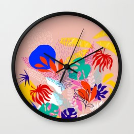 Keep Growing - Tropical plant on peach Wall Clock